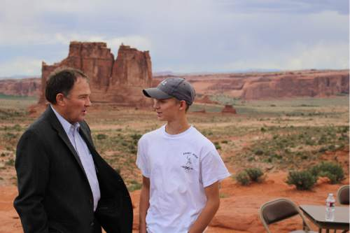 Courtesy  |  Department of Natural Resources  Gov. Gary Herbert, pictured here at Arches National Park, worries that the timing may not be right for a lawsuit pressing Utah's case for ownership of millions of acres of federal land. He wants to see the outcome of the presidential election -- and the prospects for appointment of a ninth U.S. Supreme Court justice -- before moving ahead.