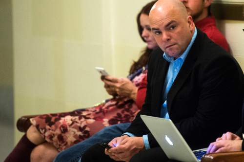 Chris Detrick  |  The Salt Lake Tribune Polygamist Joe Darger waits outside of the Senate at the Utah State Capitol Thursday March 10, 2016.