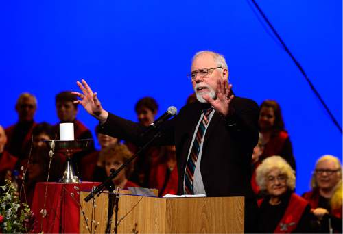 Scott Sommerdorf   |  The Salt Lake Tribune   The Rev. Tom Goldsmith speaks as the First Unitarian Church celebrated its 125th anniversary at the Marriott School of Dance, Sunday, February 28, 2016.