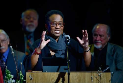 Scott Sommerdorf   |  The Salt Lake Tribune   The Rev. Rosemary Bray McNatt speaks as the First Unitarian Church celebrated its125th anniversary at the Marriott School of Dance, Sunday, February 28, 2016.