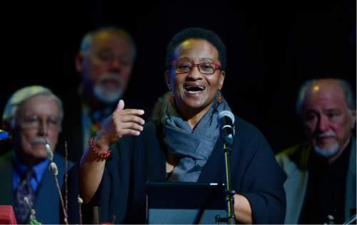 Scott Sommerdorf   |  The Salt Lake Tribune   The Rev. Rosemary Bray McNatt speaks as the First Unitarian Church celebrated its 125th year anniversary at the Marriott School of Dance, Sunday, February 28, 2016.