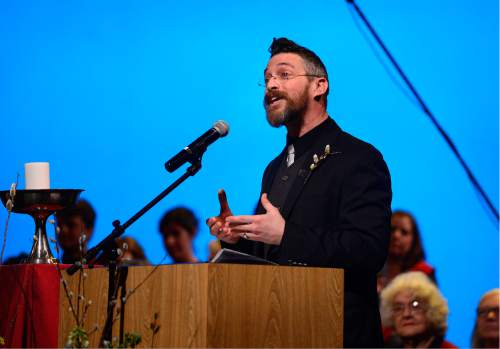 Scott Sommerdorf   |  The Salt Lake Tribune   Matthew Cockrum, minister of congregational life, speaks as the First Unitarian Church celebrated its 125th anniversary at the Marriott School of Dance, Sunday, February 28, 2016.