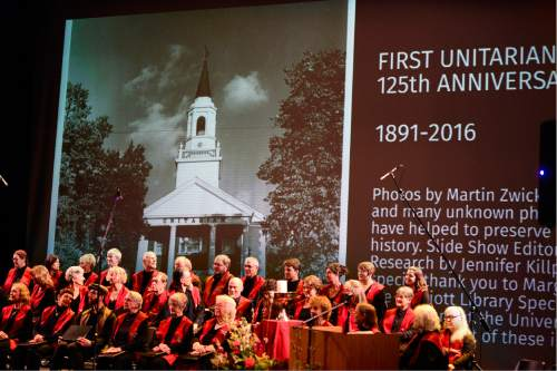 Scott Sommerdorf   |  The Salt Lake Tribune   The First Unitarian Church choir assembles under a slide show showing photos of the church as it celebrated its 125th anniversary at the Marriott School of Dance, Sunday, February 28, 2016.