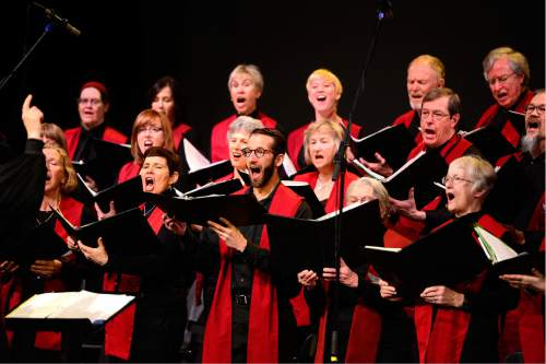 Scott Sommerdorf   |  The Salt Lake Tribune   The First Unitarian Church choir sings as it celebrated the church's 125th anniversary at the Marriott School of Dance, Sunday, February 28, 2016.