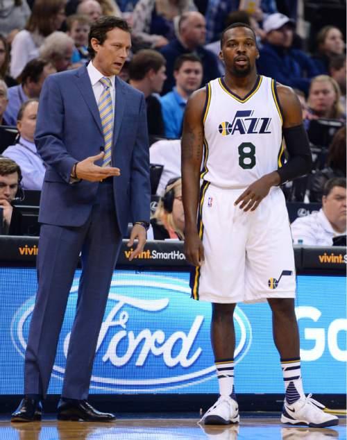 Steve Griffin  |  The Salt Lake Tribune   Utah Jazz head coach Quin Snyder talks with Utah Jazz guard Shelvin Mack (8) during the Utah Jazz versus Houston Rockets game at Vivint Smart Home Arena in Salt Lake City, Tuesday, February 23, 2016.