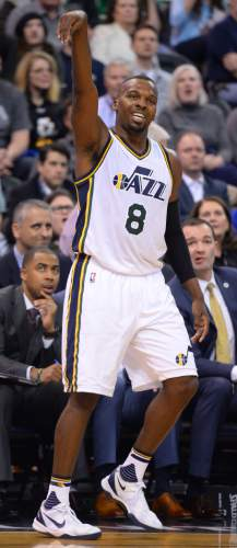 Steve Griffin  |  The Salt Lake Tribune   Utah Jazz guard Shelvin Mack (8) grimaces as he misses a three point shot during the Jazz Hawks NBA game at Vivint Smart Home Arena in Salt Lake City, Tuesday, March 8, 2016.