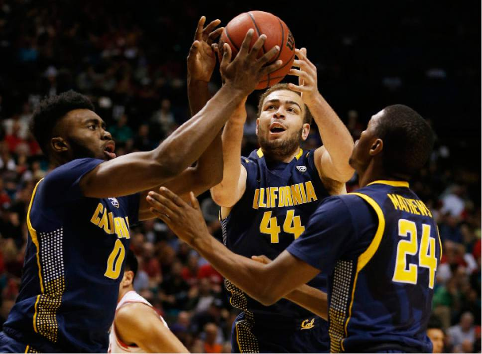 California forward Jaylen Brown, left, center Kameron Rooks, center, and guard Jordan Mathews go up for a rebound against Utah during the first half of an NCAA college basketball game in the semifinals of the Pac-12 men's tournament Friday, March 11, 2016, in Las Vegas. (AP Photo/John Locher)