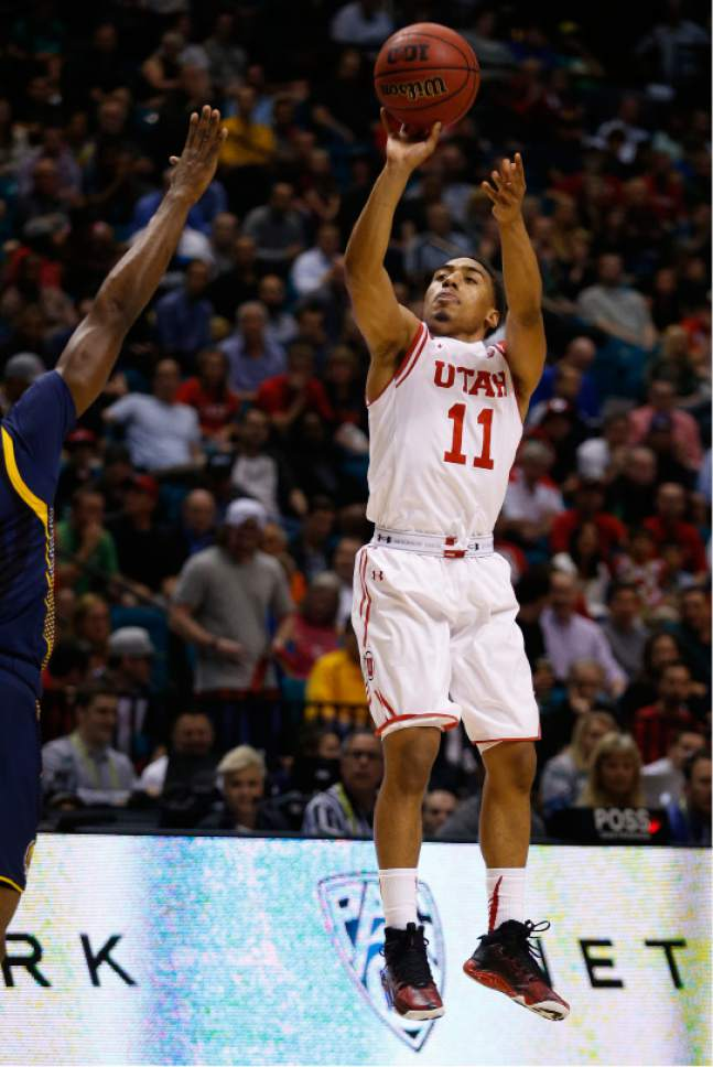 Utah guard Brandon Taylor shoots against California during the first half of an NCAA college basketball game in the semifinals of the Pac-12 men's tournament Friday, March 11, 2016, in Las Vegas. (AP Photo/John Locher)