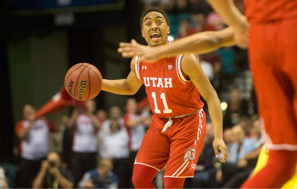 Rick Egan  |  The Salt Lake Tribune  Utah Utes guard Brandon Taylor (11) shouts to his team mates, in the PAC-12 Basketball Championship game, The Utah Utes vs.The Oregon Ducks, at the MGM Arena, in Las Vegas, Friday, March 12, 2016.