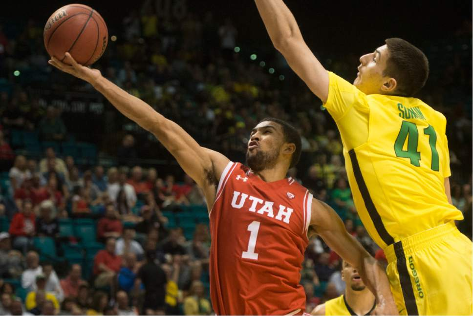Rick Egan  |  The Salt Lake Tribune  Utah Utes guard Isaiah Wright (1) goes to the hook, as Oregon Ducks forward Roman Sorkin (41) defends, in the PAC-12 Basketball Championship game, The Utah Utes vs.The Oregon Ducks, at the MGM Arena, in Las Vegas, Friday, March 12, 2016.