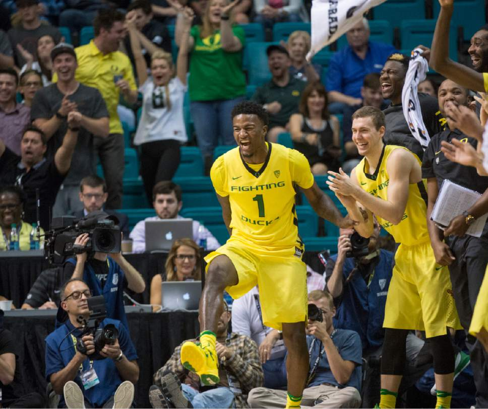 Rick Egan  |  The Salt Lake Tribune  The Oregon Ducks celebrate their 30 point lead late in the game, in the PAC-12 Basketball Championship game, The Utah Utes vs.The Oregon Ducks, at the MGM Arena, in Las Vegas, Friday, March 12, 2016.