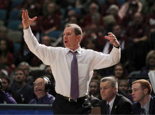 Weber State coach Randy Rahe calls out a play during the first half of the team's NCAA basketball game against Montana for the championship of the Big Sky men's tournament in Reno, Nev., Saturday, March 12, 2016. (AP Photo/Lance Iversen)
