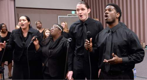Al Hartmann     The Salt Lake Tribune LDS Genesis Group Choir rehearse for an upcoming Las Vegas performance Sunday Feb. 7.  The choir is different from most LDS choirs.  They sing gospel and soul music.