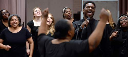Al Hartmann  |  The Salt Lake Tribune LDS Genesis Group Choir rehearse for an upcoming Las Vegas performance Sunday Feb. 7.  The choir is different from most LDS choirs.  They sing gospel and soul music.