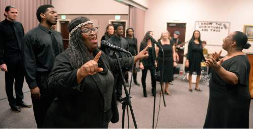 Al Hartmann  |  The Salt Lake Tribune Daysha Lassiter and the LDS Genesis Group Choir rehearse for an upcoming Las Vegas performance Sunday Feb. 7.  The choir is different from most LDS choirs.  They sing gospel and soul music.
