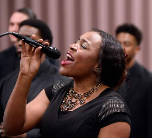 Al Hartmann  |  The Salt Lake Tribune LDS Genesis Group Choir singer Marj Desuis rehearses for an upcoming Las Vegas performance Sunday Feb. 7.  The choir is different from most LDS choirs.  They sing gospel and soul music.