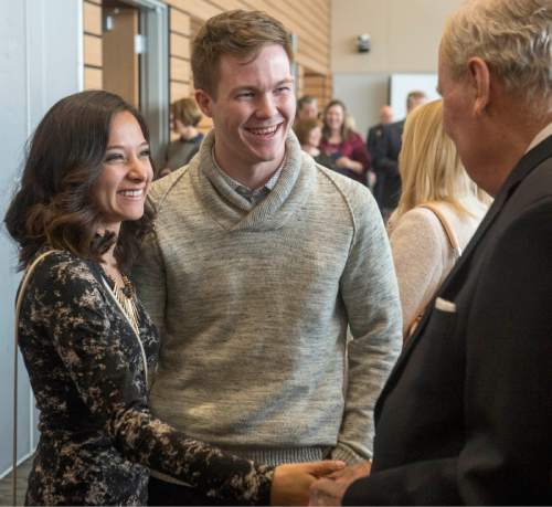 Rick Egan  |  The Salt Lake Tribune  Jon M. Huntsman visits with Perla and David Cobabe at the Grand Opening of the John M. Huntsman Hall, the new $50 Million building in the Jon M. Huntsman School of Business, Wednesday, March 16, 2016.