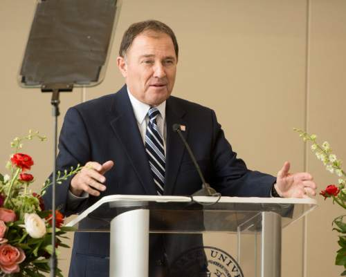 Rick Egan  |  The Salt Lake Tribune  Gary R. Herbert, Governor, State of Utah, speaks before the ribbon cutting of the new $50 Million building in the Jon M. Huntsman School of Business, Wednesday, March 16, 2016.