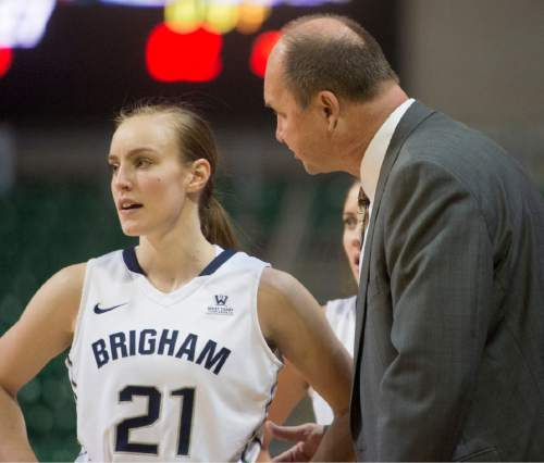 Rick Egan  |  The Salt Lake Tribune  Brigham Young Cougars head coach Jeff Judkins chats with Brigham Young Cougars guard Lexi Eaton Rydalch (21) in the final minuets of the game, in the West Coast Conference Championship game, at the Orleans Arena in Las Vegas, Tuesday, March 8, 2016.