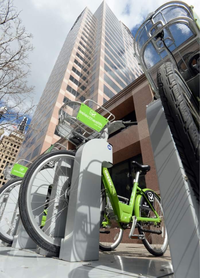Steve Griffin  |  The Salt Lake Tribune   A GREENbike bike share station on Main Street in Salt Lake City, Thursday, March 17, 2016.  GREENbike is a public/private partnership between Salt Lake City, The Salt Lake Chamber of Commerce and the Salt Lake City Downtown Alliance.
