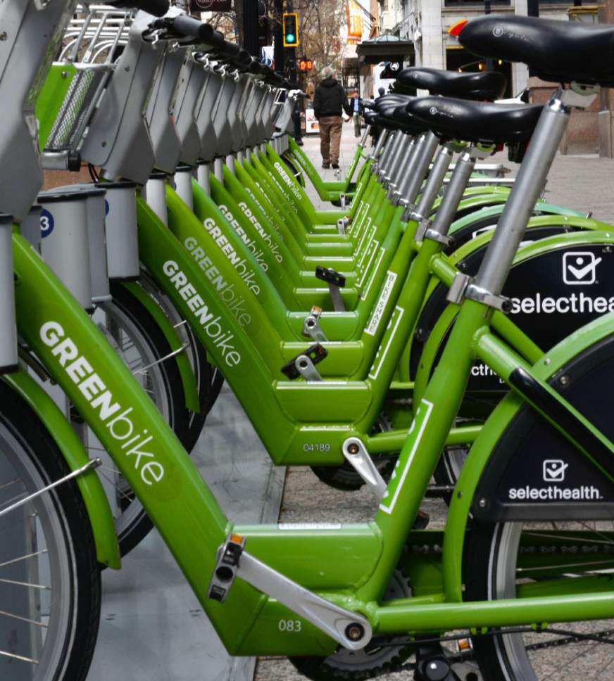 Steve Griffin  |  The Salt Lake Tribune A GREENbike bike share station is located on Main Street in Salt Lake City. GREENbike is a public/private partnership between Salt Lake City, The Salt Lake Chamber of Commerce and the Salt Lake City Downtown Alliance.