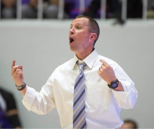 Rick Egan  |  The Salt Lake Tribune  Weber State Wildcats head coach Randy Rahe shots directions to his team, in basketball action BYU vs Weber State, at the Dee Events Center in Ogden, Saturday, December 13, 2014