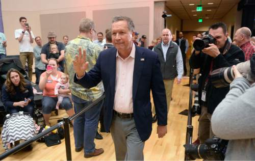 Al Hartmann  |  The Salt Lake Tribune Republican candidate for President, Ohio Governor John Kasich holds a town hall meeting at Utah Valley University in Orem, Friday March 18.