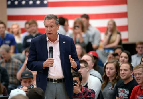 Al Hartmann     The Salt Lake Tribune Republican candidate for President, Ohio Governor John Kasich holds a town hall meeting at Utah Valley University in Orem, Friday March 18.