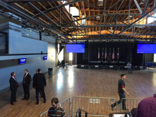 Kevin Winters Morriss     Salt Lake Tribune Preparations being for Donal Trump's rally in downtown Salt Lake City on Friday, March 18, 2016.