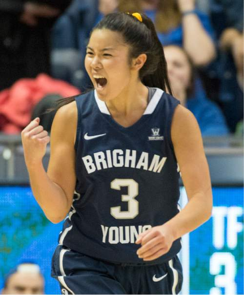 Rick Egan     The Salt Lake Tribune  Brigham Young Cougars guard Kylie Maeda (3) celebrates as BYU extends their lead on a 3-point shot by Brigham Young Cougars guard Makenzi Morrison Pulsipher (23), in basketball action, BYU vs. Utah, in the Marriott Center, Saturday, December 12, 2015.