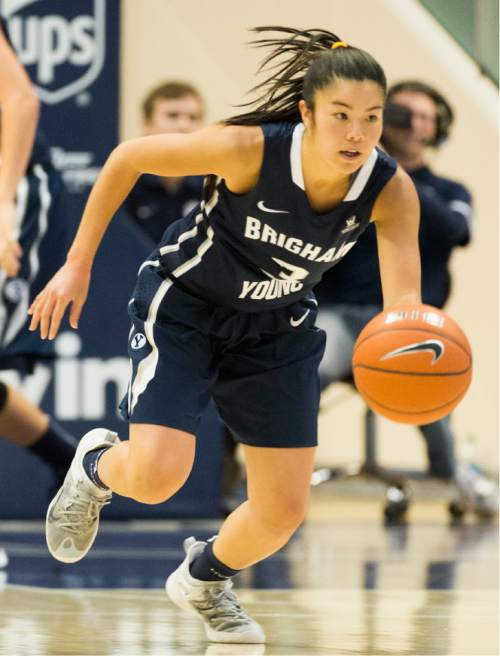 Rick Egan     The Salt Lake Tribune  Brigham Young guard Kylie Maeda (3) leads a fast break for the Cougars, in basketball action, BYU vs. Utah, in the Marriott Center, Saturday, December 12, 2015.