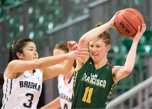 Rick Egan     The Salt Lake Tribune  Brigham Young Cougars guard Kylie Maeda (3) guardsSan Francisco Lady Dons guard Rachel Howard (11), in the final minuets of the game, in the West Coast Conference Championship game, at the Orleans Arena in Las Vegas, Tuesday, March 8, 2016.