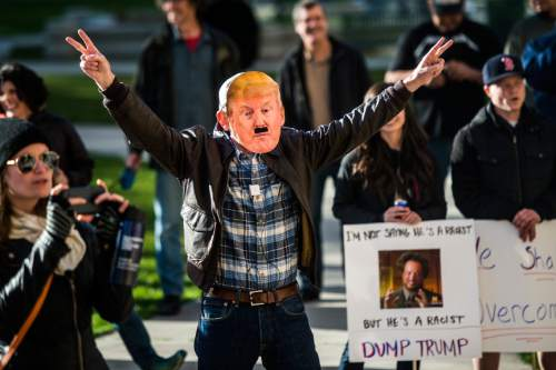 Chris Detrick  |  The Salt Lake Tribune John Stromness, of Salt Lake City, participates in a rally against Republican presidential candidate Donald Trump outside of the City and County Building Friday March 18, 2016.