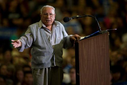 Jeremy Harmon  |  The Salt Lake Tribune  Community activist Archie Archuleta speaks to the crowd at the start of the Bernie Sanders rally at West High in Salt Lake City on Monday, March 21, 2016. Sanders spoke in Utah on the eve of the 2016 caucus.