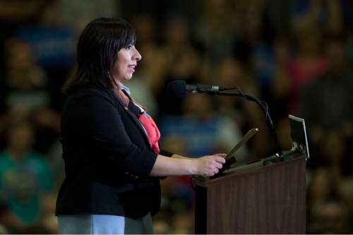 Jeremy Harmon  |  The Salt Lake Tribune  Utah Representative Angela Romero introduces Senator Bernie Sanders during a rally at West High in Salt Lake City on Monday, March 21, 2016. Sanders spoke in Utah on the eve of the 2016 caucus.