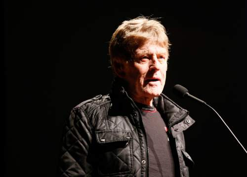 "Robert Redford, founder and president of the Sundance Institute speaks at the premiere of ""Norman Lear: Just Another Version of You"" during the 2016 Sundance Film Festival on Thursday, Jan. 21, 2016, in Park City, Utah. (Photo by Danny Moloshok/Invision/AP)"