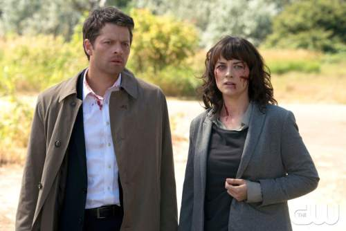 """Misha Collins as Castiel and Erica Carroll as Hannah in """"Supernatural."""" Carroll be a guest at FanX 2016. Courtesy  