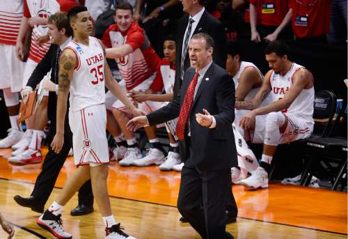 Scott Sommerdorf      The Salt Lake Tribune   Utah head coach Larry Krystkowiak and assistants yell at officials questioning a call during first half play. Gonzaga beat Utah 82-59 in Denver, Saturday, March 19, 2016.