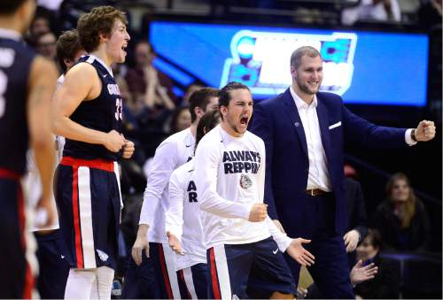 Scott Sommerdorf      The Salt Lake Tribune   The Gonzaga bench reacts to another made three-point shot during second half play. Gonzaga beat Utah 82-59 in Denver, Saturday, March 19, 2016.