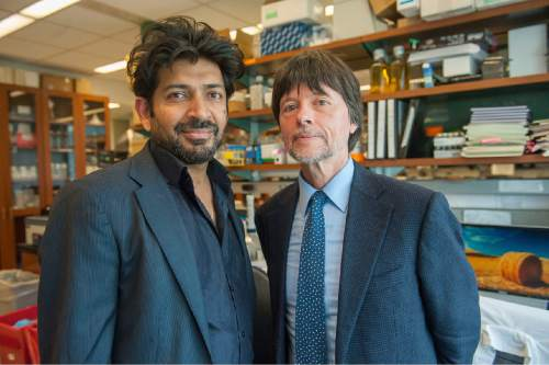 Siddhartha Mukherjee, M.D., author of the Pulitzer Prize-winning book ìThe Emperor of All Maladies: A Biography of Cancer,î and filmmaker Ken Burns, the executive producer of ìCancer: The Emperor of All Maladies.î Courtesy of Stephanie Berger