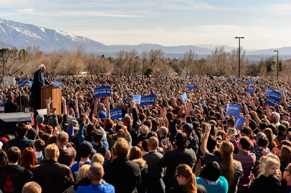 Trent Nelson  |  The Salt Lake Tribune Democratic presidential candidate Bernie Sanders speaks at This is the Place Heritage Park in Salt Lake City, Friday March 18, 2016.