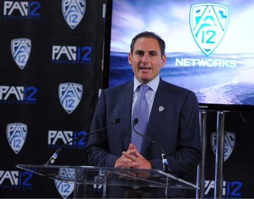 photo courtesy Pac 12  Pac-12 commissioner Larry Scott announces the creation of a group of television networks that will carry the conference's games.
