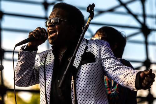 Chris Detrick     The Salt Lake Tribune Lee Fields & The Expressions perform during the Twilight Concert Series at Pioneer Park Thursday August 13, 2015.