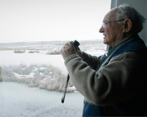 Rick Egan  | The Salt Lake Tribune   Bear River Migratory Bird Refuge volunteer Bob Ebeling, 84, has given 10,000 plus hours service in the past 23 years, Friday, March 8, 2013.