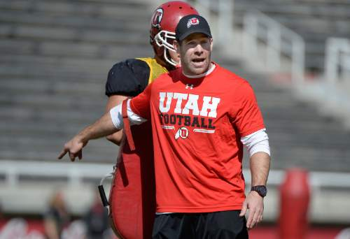 Scott Sommerdorf   |  The Salt Lake Tribune Safties and Special Teams coach Morgan Scalley coaches during University of Utah Spring scrimmage at Rice-Eccles Stadium, Saturday, April 11, 2015.