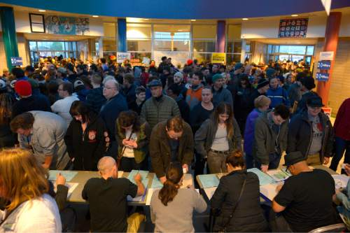 Leah Hogsten  |  The Salt Lake Tribune Lines and wait times were long at the Democratic caucus at Mountain View Elementary School as both registered party members and unaffiliated voters cast their ballots, Tuesday, March 22, 2016.