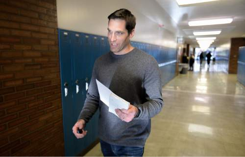 Francisco Kjolseth | The Salt Lake Tribune Josh Romney, son of former presidential candidate Mitt Romney arrives at the GOP caucuses at Cottonwood High School on Tuesday, March 22, 2016, to vote absentee for his father who is in Washington D.C.