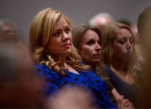 "Scott Sommerdorf   |  The Salt Lake Tribune Elissa Wall - ""MJ"" - sits in on the meeting at El Capitan School, Saturday, August 9, 2014."