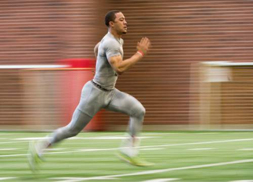 Rick Egan  |  The Salt Lake Tribune  Kendal Thompson (1), runs drills for the NFL scouts during the Uof U's annual Pro Day, at the University of Utah, Thursday, March 24, 2016.