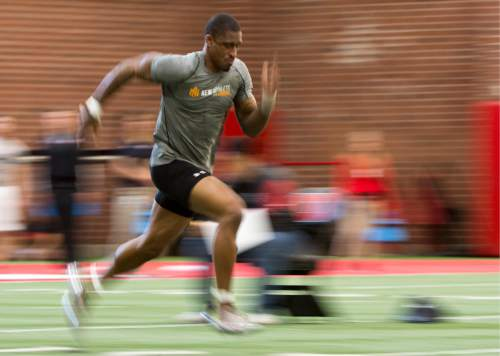 Rick Egan  |  The Salt Lake Tribune  Kenneth Scott runs drills for the NFL scouts during the Uof U's annual Pro Day, at the University of Utah, Thursday, March 24, 2016.